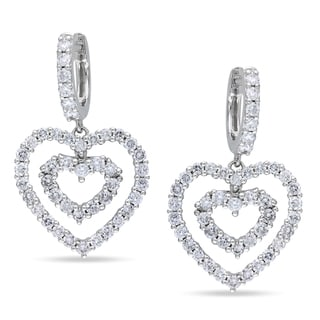 Miadora Signature Collection Miadora 14k Gold 1 4/5ct TDW Diamond Heart Earrings (G-H, SI1-SI2)
