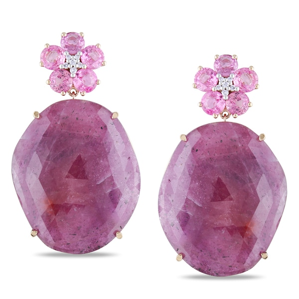 Miadora Signature Collection 14k Gold Pink Sapphire and 1/10ct TDW Diamond Earrings (G-H, SI1-SI2)