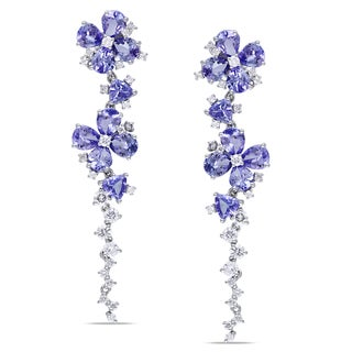 Miadora 14k Gold Tanzanite and 1ct TDW Diamond Earrings (G-H, SI1-SI2)
