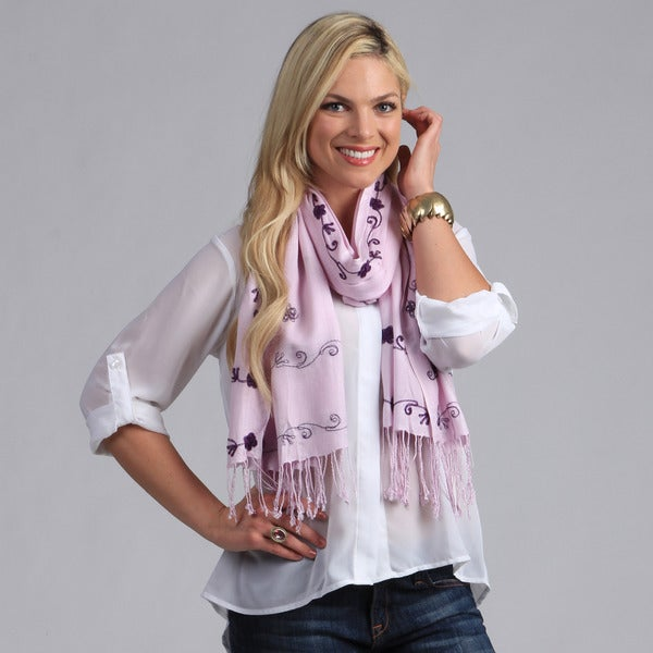 Peach Couture Women's Lavender Embroidered Shawl