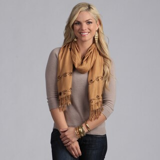 Women's Gold with Brown Floral Embroidery Shawl