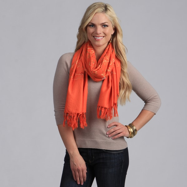 Peach Couture Women's Embroidered Orange Wool Shawl