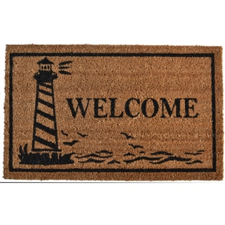 Guiding Light Lighthouse Print Welcome Mat