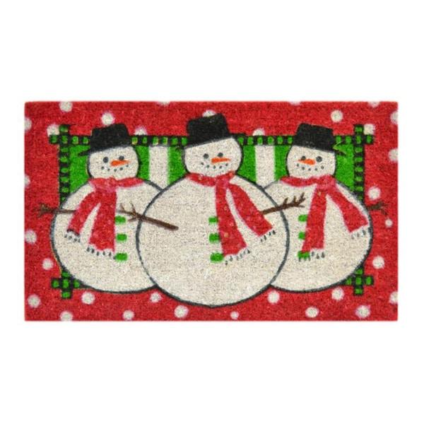 Three Snowmen Door Mat