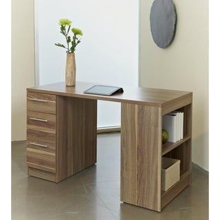 Side Bookcase Walnut Study Desk