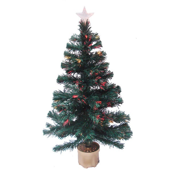 Multicolor 3-foot Fiber Optic Christmas Tree with 90 Fiber Optic Tips and Top Star