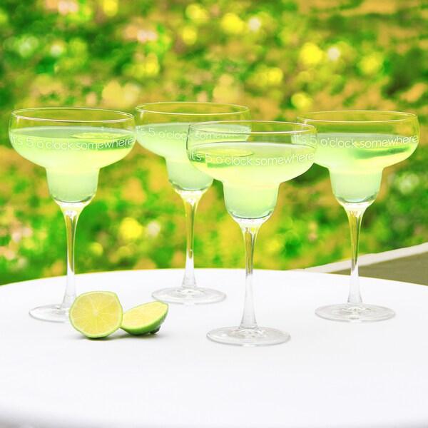 'It's 5 o'clock Somewhere' Margarita Glasses (Set of 4)