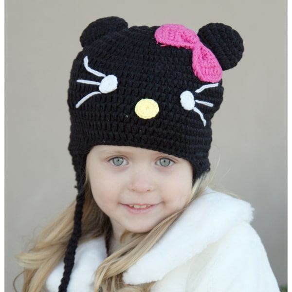 Handmade Baby Black Kitty Knit Hat