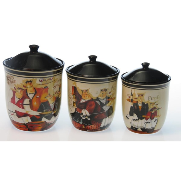 Certified International 'Days of Wine' 3-Piece Canister Set