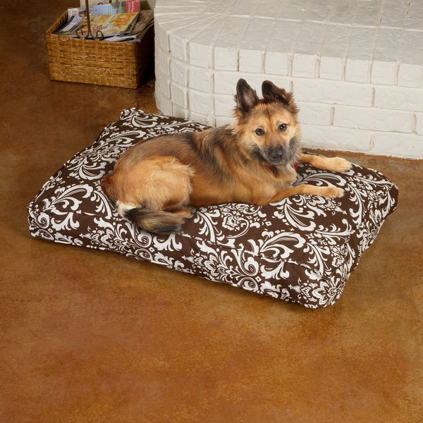 Sweet Dreams Brown Damask Corded Pet Bed
