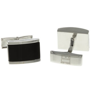 Silvertone Onyx Inlay Cuff Links