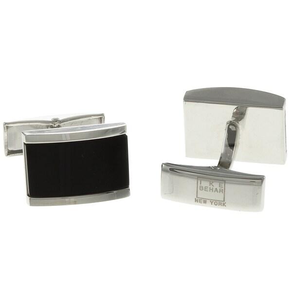 Silvertone Onyx Inlay Cuff Links