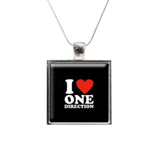 I Love One Direction Glass Pendant and Necklace