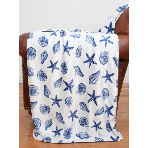 Scattered Sea Shells Microplush 50x60-inch Throw
