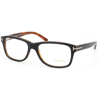 Tom Ford Unisex Shiny Black and Havana Plastic Eyeglasses
