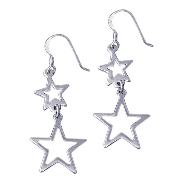 Double See Through Retro Star Drop .925 Silver Earrings (Thailand)