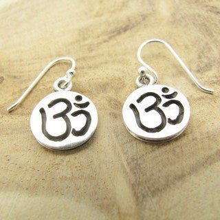 Circle Disc Aum or Ohm Symbol Sterling Silver Earrings (Thailand)
