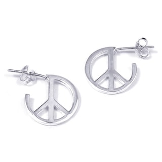 Contempo Quarter Round Peace Sign .925 Silver Earrings (Thailand)