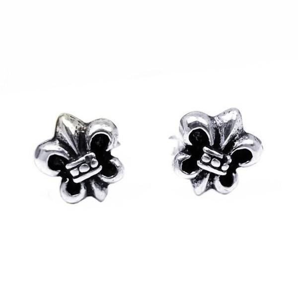 Petite Saint Fleur de Lis Saints .925 Silver Stud Earrings (Thailand)