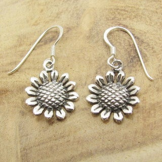 Charming Sunflower Sterling Silver Dangle Earrings (Thailand)