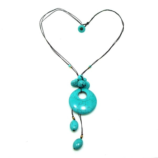 Trendy Round Donut Turquoise Stone Necklace (Thailand)