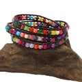 Multi Stone Treasures Three Wrap Leather Bracelet (Thailand)