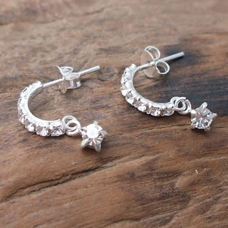 Dainty Round White CZ Dangle .925 Silver Post Earrings (Thailand)