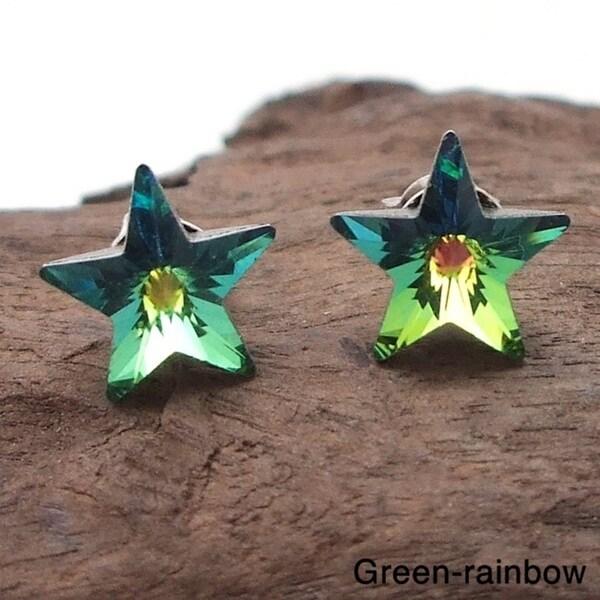 Prism Rainbow Crystal Star .925 Silver Earrings (Thailand)