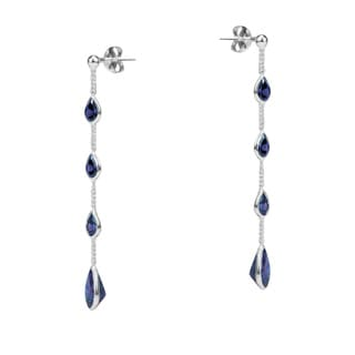 Tiered Purple CZ Tear Drop Link .925 Silver Earrings (Thailand)