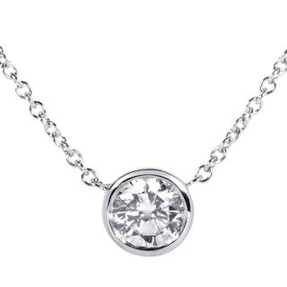 14k White Gold 1ct TDW Certified Diamond Solitaire Bezel Necklace (H, SI3)