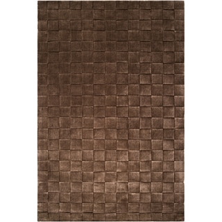 Hand-crafted Solid Casual Angleton Basket Weave Patterned Zealand Wool Rug