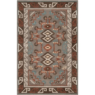 Hand-tufted Grey Southwestern Aztec Jerome Wool Rug (3'3 x 5'3)