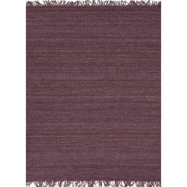 Handmade Flat-weave Solid Pink/ Purple Hemp/ Jute Rug (4