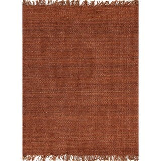 Handmade Flat-weave Solid Red/ Orange Hemp/ Jute Rug (8' x 10')