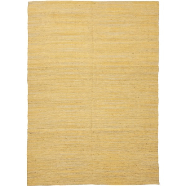 Handmade Flat Weave Solid Gold/ Yellow Hemp/ Jute Rug (5' x 7'6)