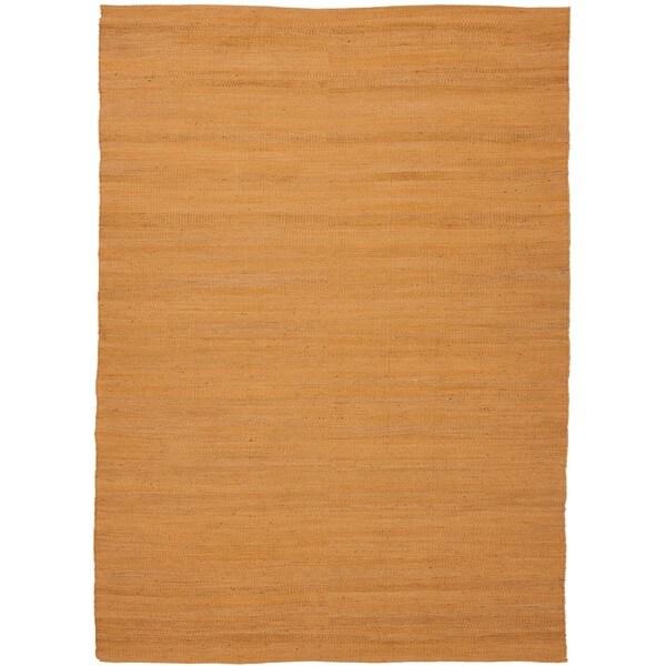 Handmade Flat Weave Solid Red/ Orange Hemp/ Jute Rug (5' x 7'6)