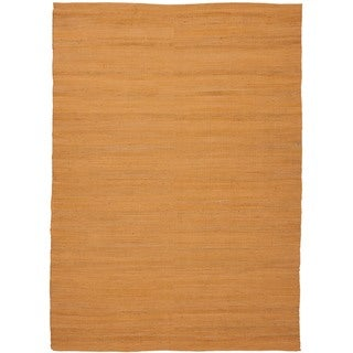 Handmade Flat Weave Solid Red/ Orange Hemp/ Jute Rug (3'6 x 5'6)