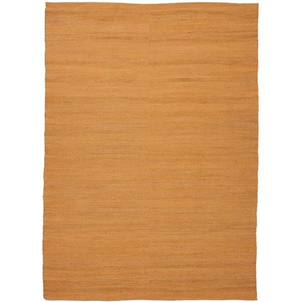 Handmade Flat Weave Solid Red/ Orange Hemp/ Jute Rug (3'6 x 5'6)