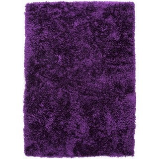 Pink/ Purple Solid Shag Rug (5' x 8')