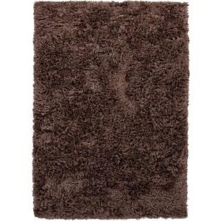 Beige/ Brown Solid Shag Rug (9' x 12')