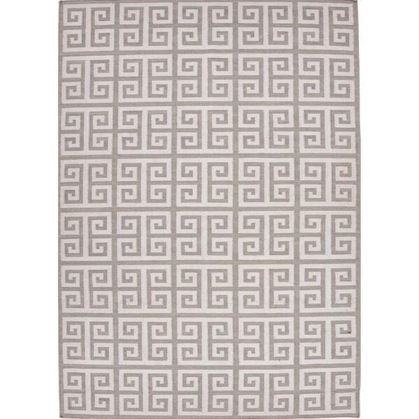 Handmade Flat Weave Geometric Gray/ Black Wool Rug (8' x 10')