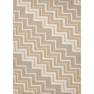 Handmade Flat Weave Geometric Beige/Brown Wool Area Rug (8' x 10')