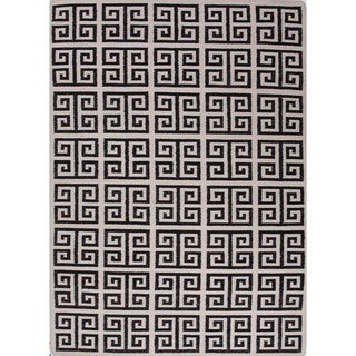 Handmade Flat Weave Black/ White Wool Runner (2'6 x 8')