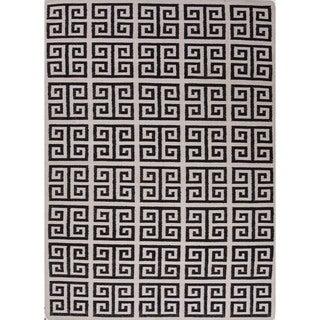 Handmade Flat Weave Geometric Black/ White Wool Rug (9' x 12')