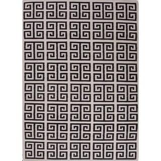 Handmade Geometric Flat Weave Black/ White Wool Rug (5' x 8')