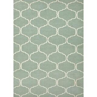 Handmade Geometric Flat Weave Blue Wool Rug (9' x 12')