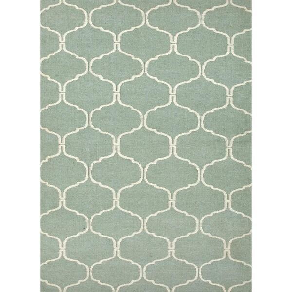 Handmade Geometric Flat Weave Blue Wool Rug (8' x 10')