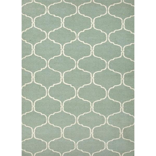 Handmade Geometric Flat Weave Blue Wool Rug (5' x 8')