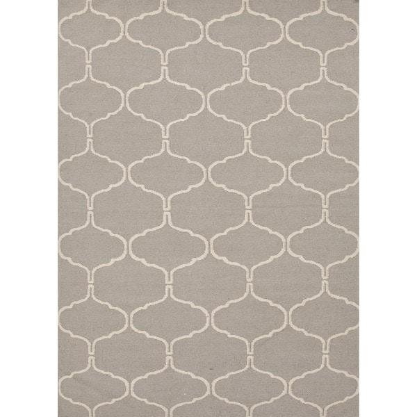 Handmade Geometric Flat Weave Gray Wool Rug (5' x 8')
