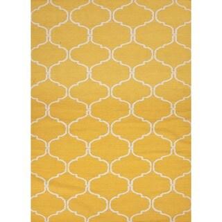Handmade Flat Weave Yellow Wool Runner (2'6 x 8')
